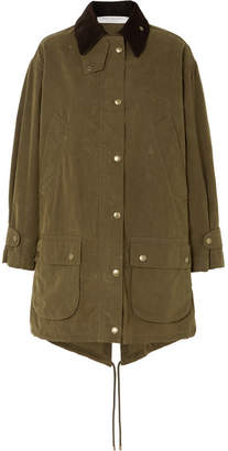Philosophy di Lorenzo Serafini Oversized Corduroy-trimmed Waxed Cotton-blend Canvas Coat - Green