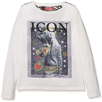 Gaudi' Gaudì Girl's Manica Lunga Con Carre' in Pizzo E Stampa T-Shirt,140 cm