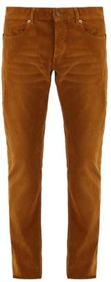 Saint Laurent Straight Leg Cotton Corduroy Trousers - Mens - Brown
