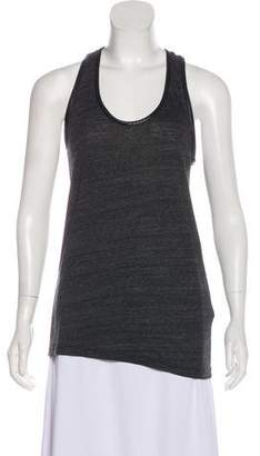 7 For All Mankind Faux Leather Trim Sleeveless Top
