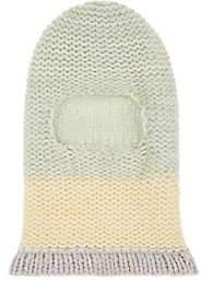 Calvin Klein Women's Stockinette-Stitched Wool Balaclava-Pistache White Yellow Pink