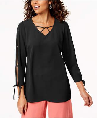 JM Collection Split-Sleeve Lattice-Neck Top, Created for Macy's