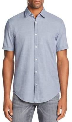 BOSS Ronn Short-Sleeve Micro-Grid-Print Slim Fit Shirt