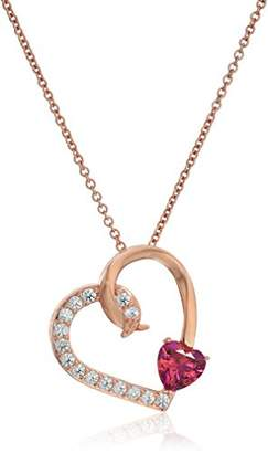 Swarovski Rose Gold Plated Sterling Silver Zirconia Open Heart Pendant Necklace