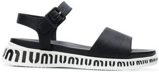Miu Miu flat logo sole sandals