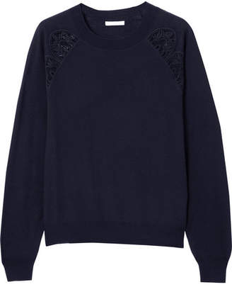 Chloé Cotton-blend Lace-trimmed Wool Sweater - Navy