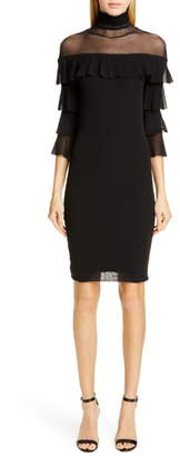 Fuzzi Ruffle Sleeve Body-Con Dress