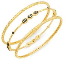 Freida Rothman Gilded Cable Three-Stack Bangle Set