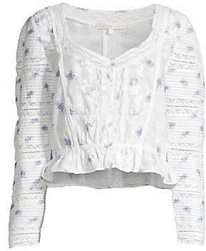LoveShackFancy Women's Sabrina Cotton Puff-Sleeve Top