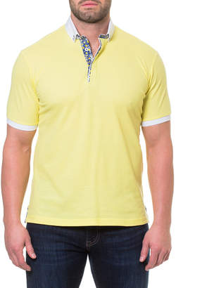 Maceoo Men's Kyle Contrast-Trim Cotton-Pique Polo Shirt, Yellow