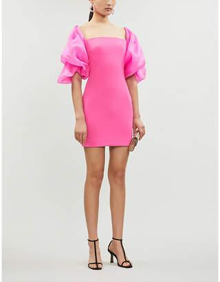 SOLACE London Ellice puffed-sleeve stretch-ponté and silk-chiffon mini dress