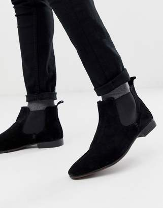 Silver Street Chelsea Boot with Contrast Gusset in Black Suede