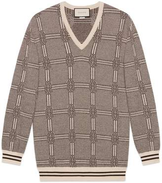 Gucci Jacquard wool cashmere sweater