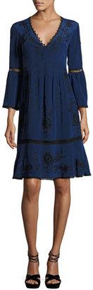 Nanette Lepore 3/4-Sleeve Embroidered Silk Dress, Blue/Black $598 thestylecure.com