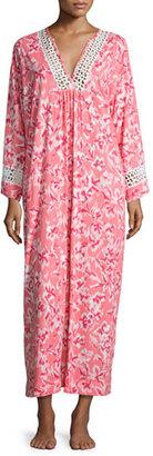 Oscar de la Renta Floral-Print Cotton Caftan, Coral $180 thestylecure.com