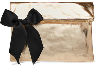 Clare V - Bow-embellished Metallic Textured-leather Clutch - Gold $235 thestylecure.com