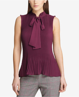 DKNY Pleated Tie-Neck Top