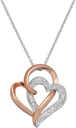 Two Hearts Forever OneTwo Tone Sterling Silver 1/4 Carat T.W. Diamond Double Heart Pendant