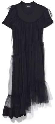 Simone Rocha Long Frill Jersey Tulle T-Shirt Dress in Black