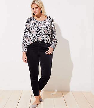 49c20ccf9b10e LOFT Plus Modern Velvet Ankle Zip Skinny Jeans