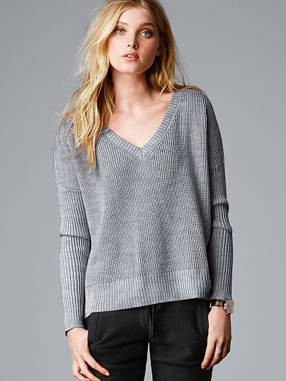 Victoria's Secret A Kiss of Cashmere Ribbed Boxy Pullover