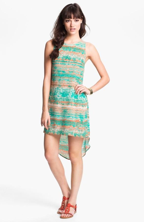 Lush Print High/Low Shift Dress (Juniors) Teal Large