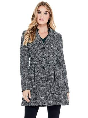 Factory Guess Women's Larae Fit-and-Flare Tweed Coat