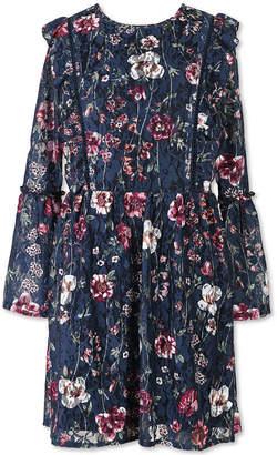 Speechless Long Sleeve Lace Ruffle Dress - Big Kid Girls
