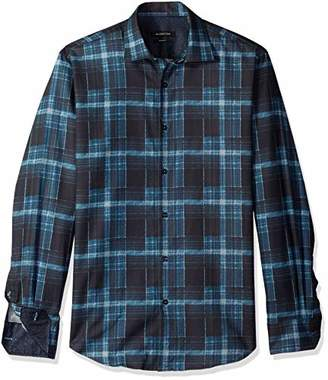 Bugatchi Men's Tappered Fit Long Sleeve Point Collar Button Down Shirt