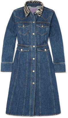 ALEXACHUNG Pacifico Calf Hair-trimmed Denim Dress - Mid denim