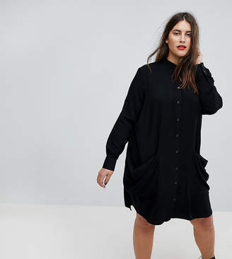 Asos Shirt midi dress with Drape Pockets
