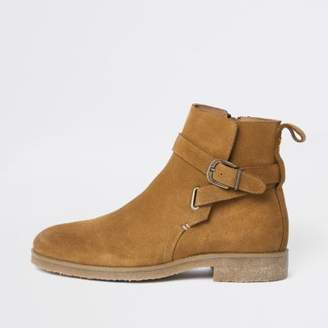River Island Mens Tan suede buckle strap chelsea boots