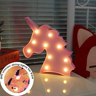 DELICORE LED Night Light Lamp Kids Marquee Letter Lights Unicorn shape Signs Light Up Christmas Party Wall Decoration Battery Operated (pink)