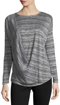 Joan Vass Ruched Shoulder Knit Top