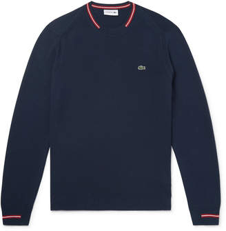 Lacoste Stripe-Trimmed Cotton Sweater