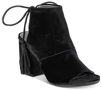Kenneth Cole Reaction Women's Reach the Stars Peep Toe Flared Heel Lacing Tassel Detail-Velvet Ankle Bootie