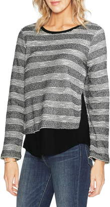 Vince Camuto Stripe Mix Media Top