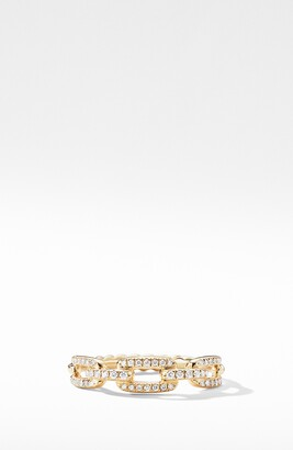 David Yurman Stax 18K Gold Single Row Pave Chain Link Ring with Diamonds