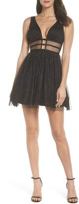 Blondie Nites Glitter Dot Fit & Flare Party Dress