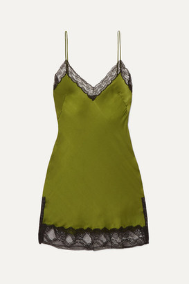 Burberry Lace-trimmed Silk-satin Mini Dress - Green