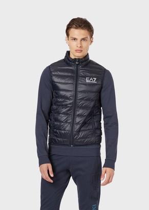 Emporio Armani Ea7 Sleeveless Down Jacket In Technical Fabric