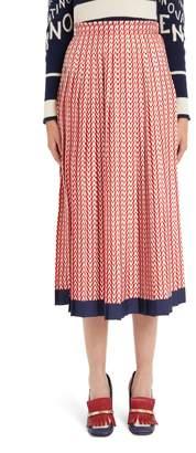 Valentino V-Print Silk Twill Pleated Midi Skirt