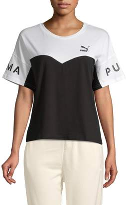 Puma Colorblock Short-Sleeve Cotton Tee