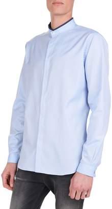 The Kooples Cotton Pique Mandarin Collar Long Sleeve Sport Shirt