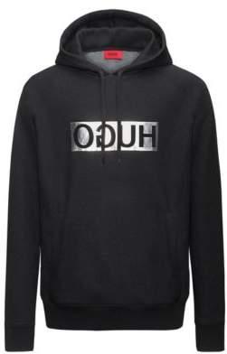 HUGO BOSS Reverse Logo Cotton Blend Hoodie D/Unisex Silver M Black