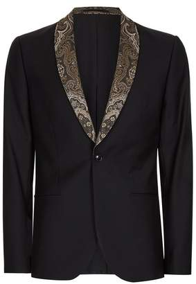Black Contrast Gold Lapel Skinny Fit Tuxedo Jacket $275 thestylecure.com