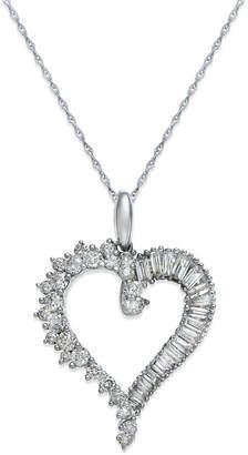Macy's Diamond Heart Pendant Necklace in 14k White Gold (3/4 ct. t.w.)