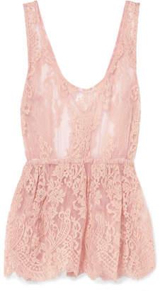 Rosamosario - La Bella Siciliana Embroidered Cotton-blend Lace Top - Blush