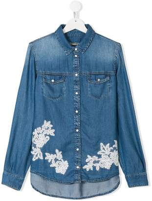 Ermanno Scervino TEEN floral embroidered denim shirt