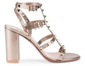 Valentino Rockstud Metallic Leather Slingback Sandals